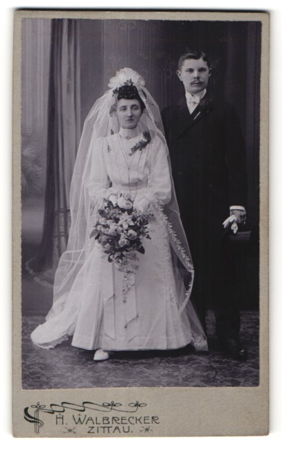 Fotografie H. Walbrecker, Zittau, Portrait Brautpaar, Hochzeit