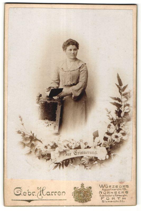 Fotografie Gebr, Harren, Würzburg, Nürnberg, Fürth, Portrait bürgerliche junge Frau