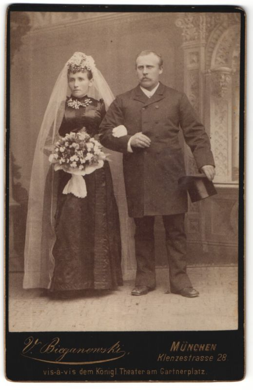 Fotografie V. Bieganowski, München, Portrait Brautpaar, Hochzeit