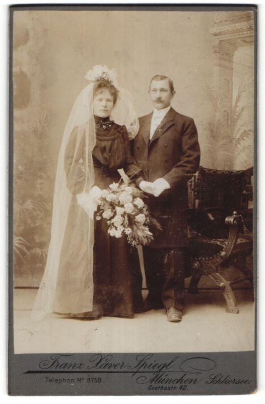 Fotografie Franz Xaver Spiegl, München-Schliersee, Portrait Braut und Bräutigam