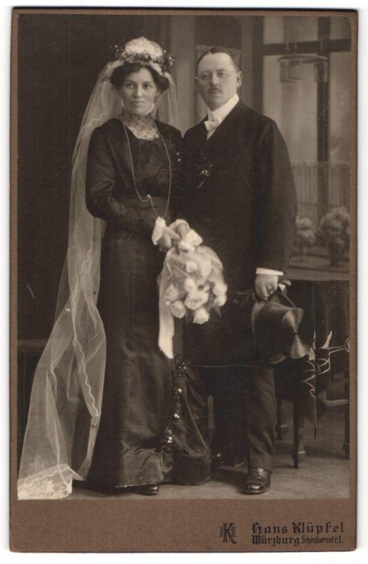 Fotografie Hans Klüpfel, Würzburg, Portrait Braut und Bräutigam, Hochzeit