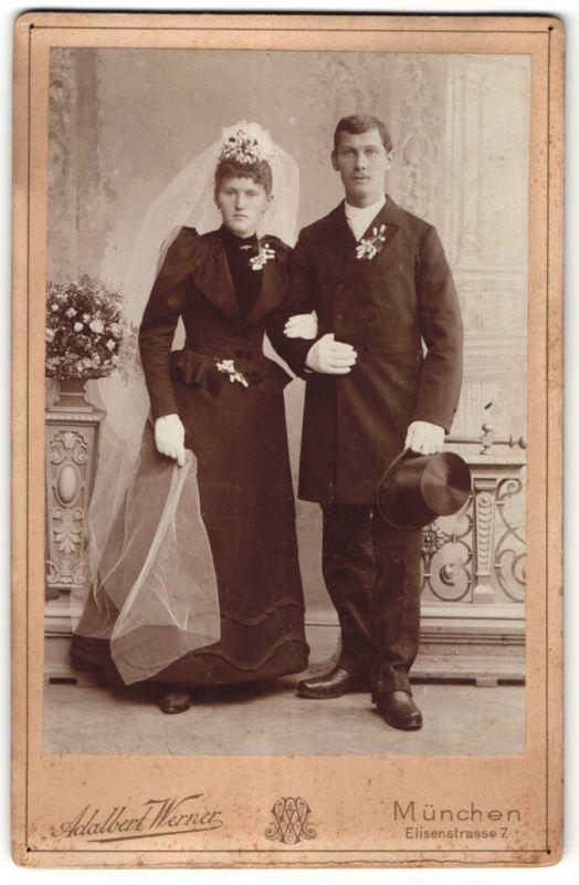 Fotografie Adalbert Werner, München, Portrait Hochzeitspaar, Braut und Bräutigam