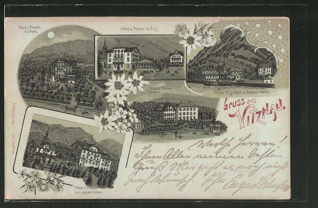 Mondschein-Lithographie Witznau, Hotel & Pension du Parc, Hotel & Pension du Rigi, Hotel zum weisen Kreuz