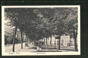 AK Stolp, reges Treiben in der Bahnhofstrasse