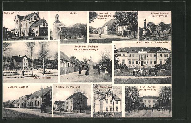 AK Ziebingen, Ansicht m. Grandke's Gasthof, Gräfl. Schloss, Jache's Gasthof, Am Petersilienberge, Kirche