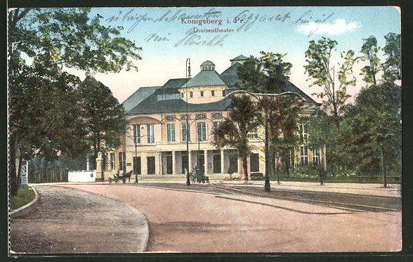 AK Königsberg, Ortsansicht mit Louisentheater