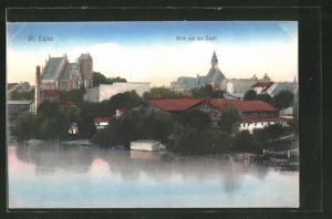 AK Deutsch Eylau / Ilawa, Blick vom See auf die Stadt