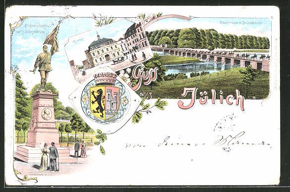 Lithographie Jülich, Rathaus, Kriegerdenkmal auf dem Schlossplatz, Roerbrücke