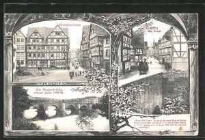 AK Melsungen a. d. F., Eingang in die Stadt, Brückenstrasse, Alte Bürgerbrücke mit Flusspartie