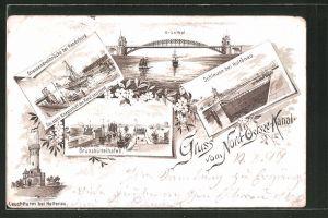 Lithographie Rendsburg, Strassendrehbrücke, Schleuse bei Holtenau, Leuchtturm bei Holtenau