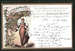 Lithographie Heilbronn, Heilbronner Kätchen nimmt Rose in die Hand