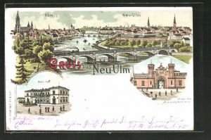 Lithographie Neu-Ulm, Bahnhof, Portal der Friedens-Kaserne