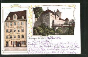 AK Nürnberg, Gasthof Pillhofer, Eingang Frauenthor