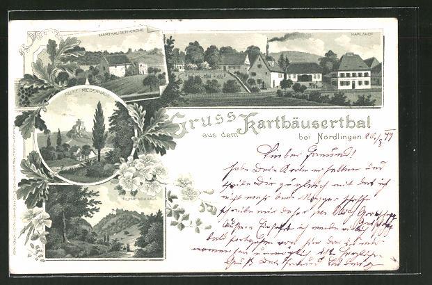 Lithographie Nördlingen, Ruine Niederhaus, Karlshof, Karthäliserkirche