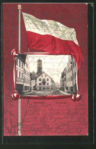 AK Weilheim, Blick in die Herrnstrasse, Fahne