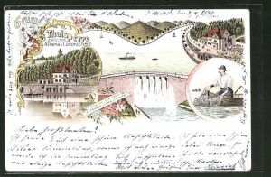 Lithographie Altena, Thalsperre zwischen Altena und Lüdenscheid mit Gastof