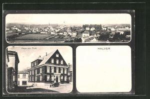 AK Halver, Gasthaus und Hotel zur Fuhr, Totale des Ortes