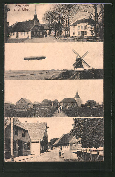 AK Brokdorf a/Elbe, Windmühle und Zeppelin
