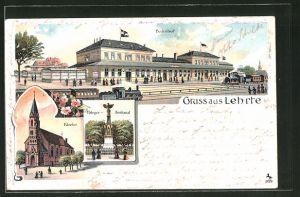 Lithographie Lehrte, Bahnhof, Kirche, Krieger-Denkmal