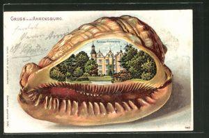 Passepartout-Lithographie Ahrensburg, Schloss auf Muschel