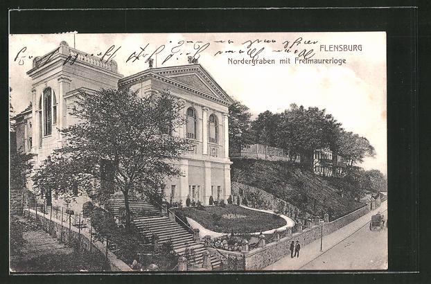 AK Flensburg, Nordergraben mit Freimaurerloge