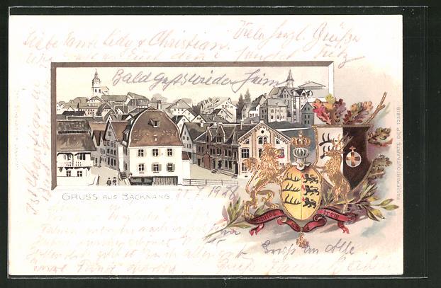 Passepartout-Lithographie Backnang, Ortspartie und Wappen