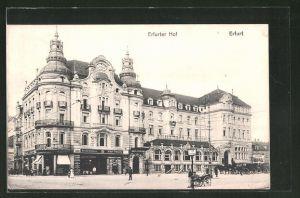 AK Erfurt, Partie am Hotel Erfurter Hot & Cigarren-Import v. Bruno Schramm