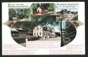 AK Burkhardtsdorf im Erzgebirge, Gasthaus Besenschänke mit Gedicht