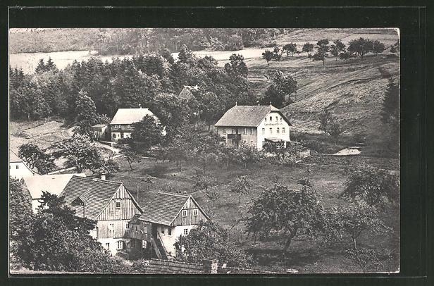 AK Lückendorf, Ortspartie mit Hotel Landhaus Erich