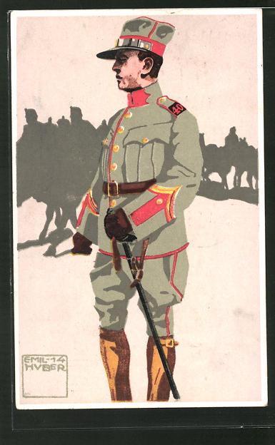 Künstler-AK sign. Emil Huber: Felduniform, Neue Ordonnanz, 10. Feldartillerie, Offiziers-Aspirant, Wachtmeister