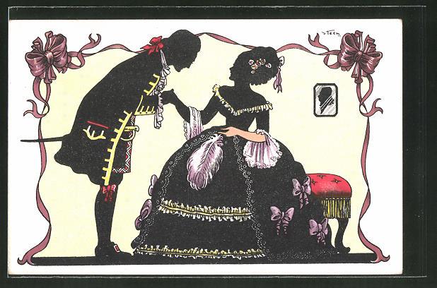 Künstler-AK Steen: Dame und Kavalier, Barock, Silhouetten