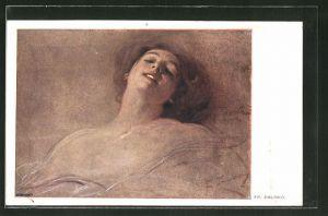 Künstler-AK Franciszek Zmurko: Mädchen mit offenen Lippen