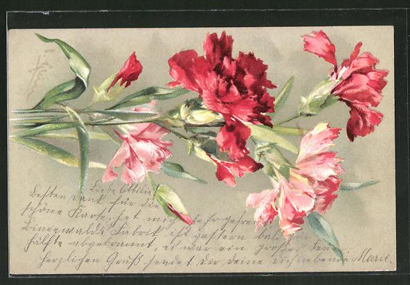 Künstler-AK Catharina Klein: Rote und rosa Nelken