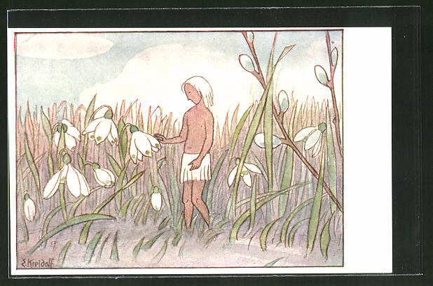 Künstler-AK Ernst Kreidolf: Maiglöckchengruss, Blumenfee
