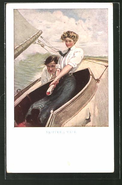 Künstler-AK Clarence F. Underwood: Skipper & Mate, Paar beim Segeln