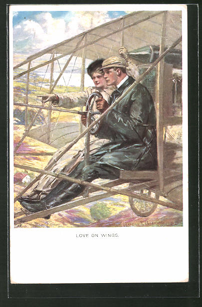 Künstler-AK Clarence F. Underwood: Love on Wings, Paar im Flugzeug