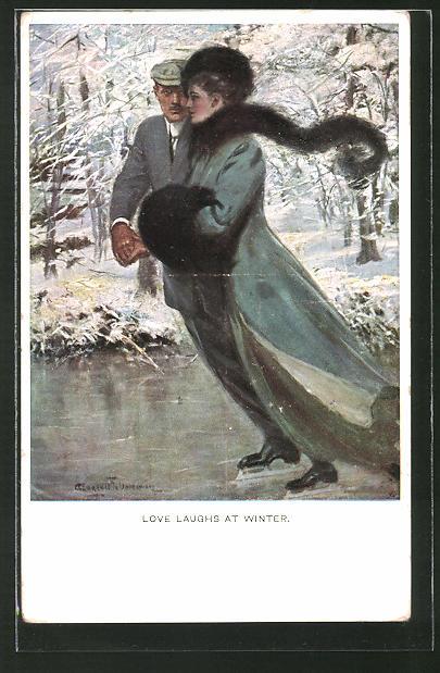 Künstler-AK Clarence F. Underwood: Love Laughs at Winter, Paar beim Schlittschuhlauf