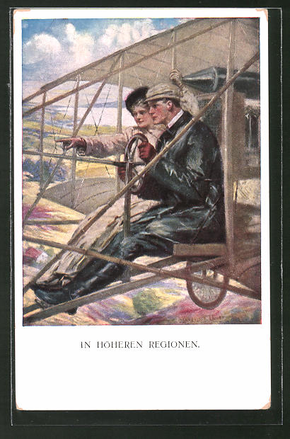 Künstler-AK Clarence F. Underwood: In Höheren Regionen, Liebespaar im Flugzeug