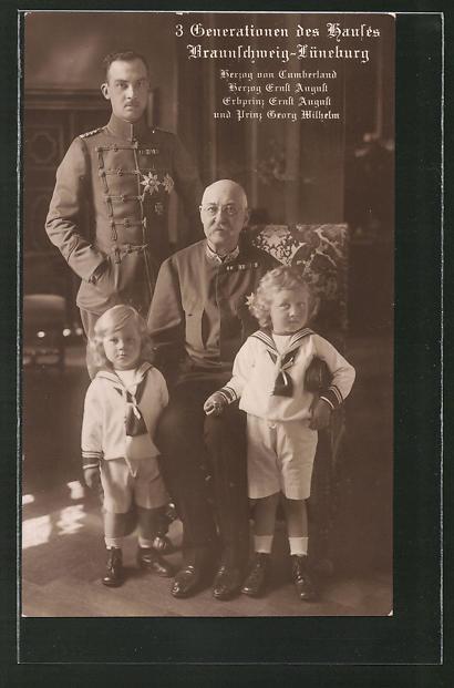 AK 3 Generationen des Hauses Braunschweig-Lüneburg mit Herzog von Cumberland & Herzog Ernst August