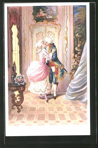 Künstler-AK Fr. Rösler: Kavalier küsst eine Dame