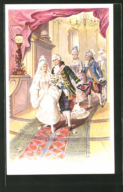 Künstler-AK Fr. Rösler: Braut und Bräutigam in Mode des Barock