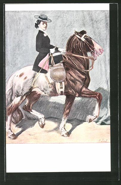 Künstler-AK Angelo Jank: Reiterin paradiert mit ihrem Pferd