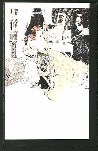 Künstler-AK Ferdinand von Reznicek: Madame Vervier mit ihrer Zofe