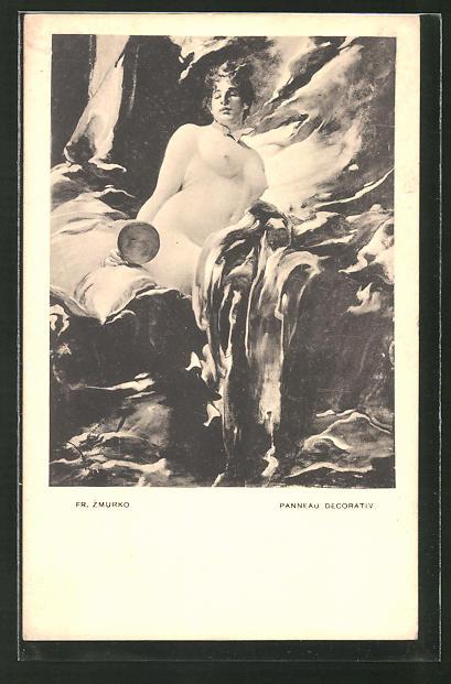 Künstler-AK Franciszek Zmurko: Panneau Decorativ, Nackte betrachtet sich im Handspiegel