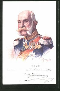Künstler-AK Kaiser Franz Josef I. von Österreich, Portrait in Uniform mit Orden