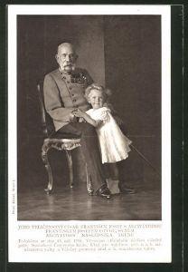 AK Kaiser Franz Josef I. von Österreich mit seinem Enkel Franz Josef Otto