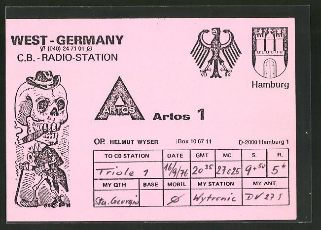 AK Hamburg, West-Germany C.-B.-Radio-Station, Artos 1