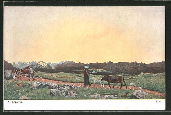 Künstler-AK Giovanni Segantini: Sein, Bauern mit Rinderherde