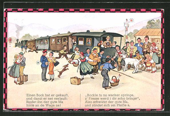 Künstler-AK Hans Boettcher: Ziegenbock wird an Eisenbahn gebunden