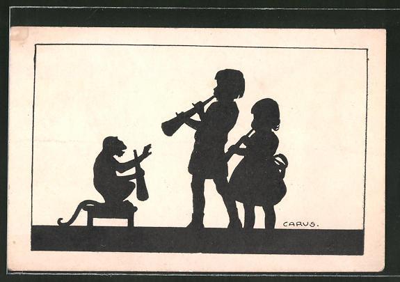 Künstler-AK Carus: Kinder muszieren mit Affen